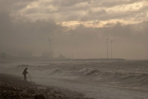 Shore and wind turbines