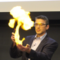 Jeff Grossman doing a fire demonstration